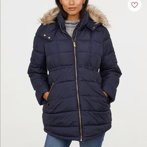 H&M   maternity puff jacket with fur lined hood